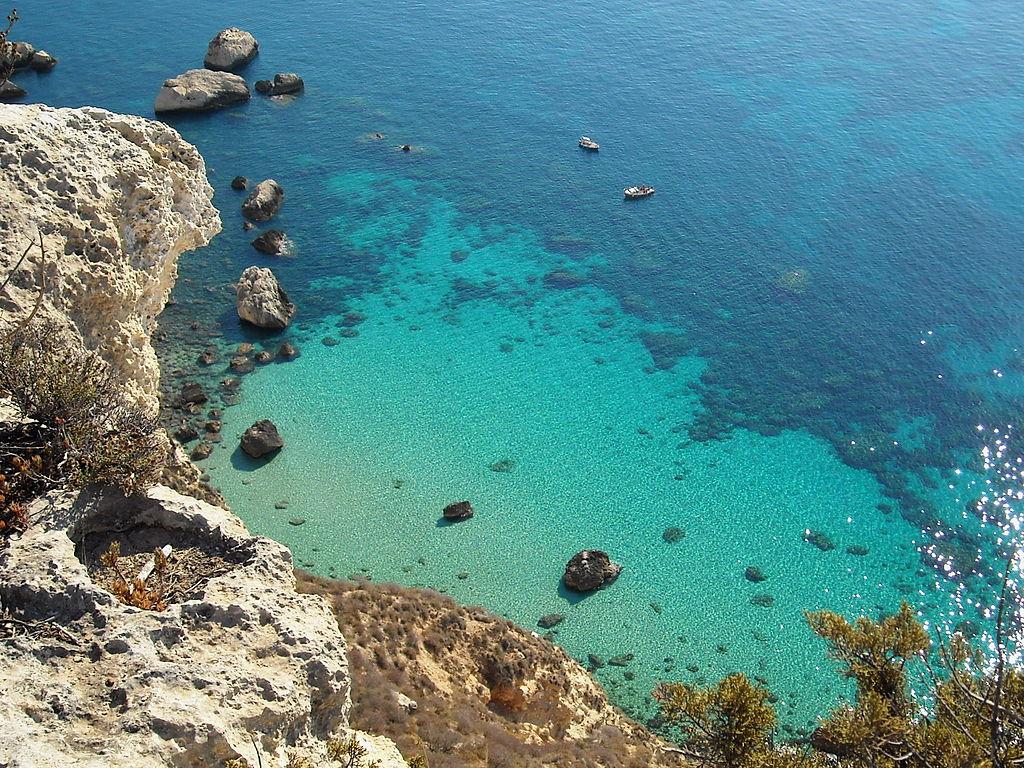 Il colore del mare vicino a Cagliari